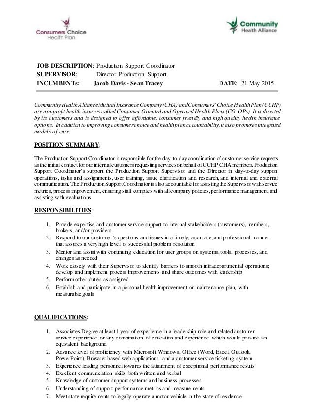 Production Support Coordinator Job Description May21 002