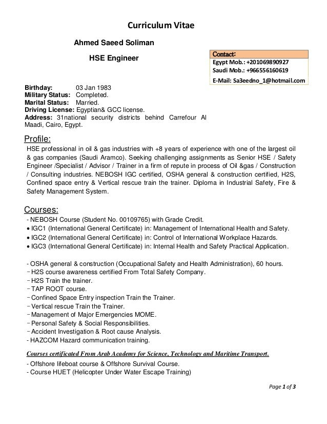 cv  ahmed saeed  hse engineer