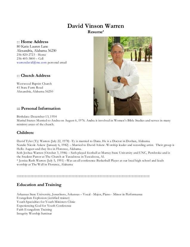david vinson warren resume 2011docx copy