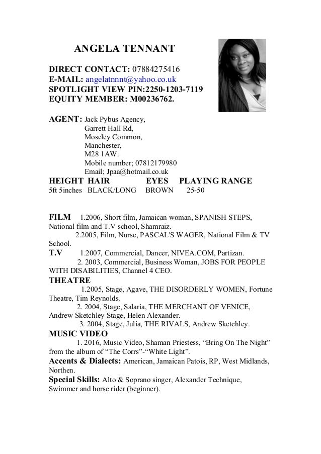 angela tennant's acting c.v. with new credit