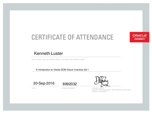 Certification for S Introduction to Oracle SCM Cloud Inventory Ed 1