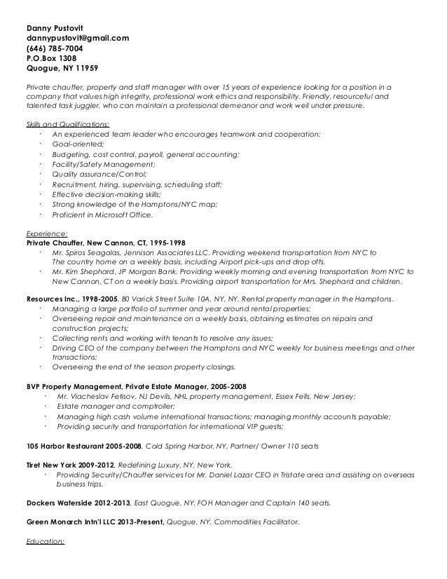 Danny Pustovit Resume
