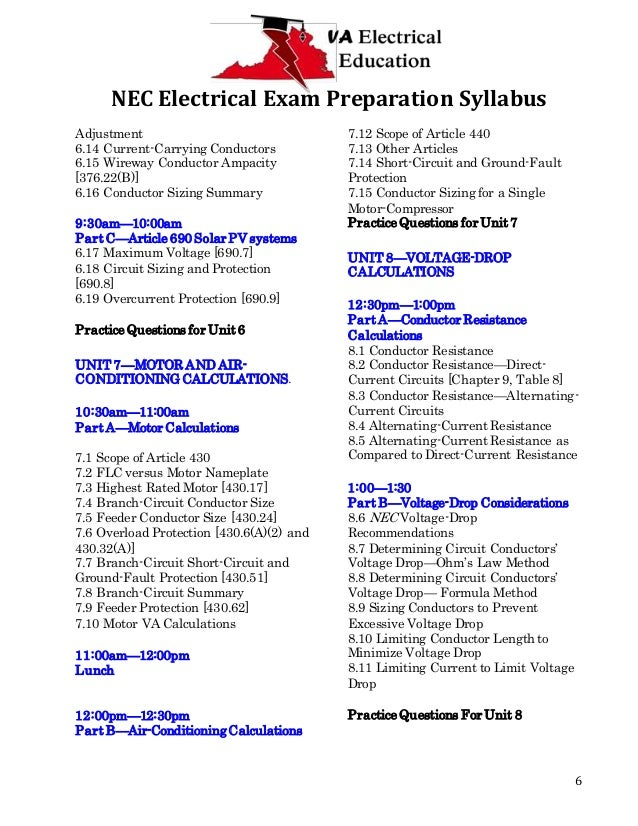 Exam preparation syllabus nec electrical greentooth