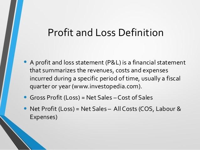 profit and loss accounts training