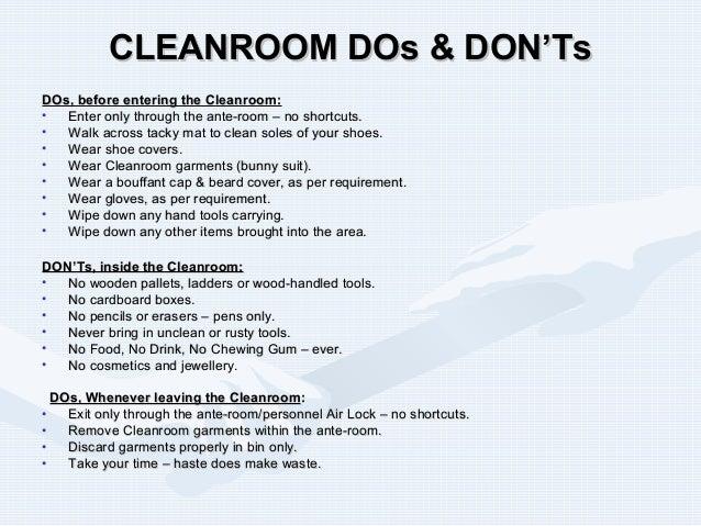 Clean Room Construction Procedures