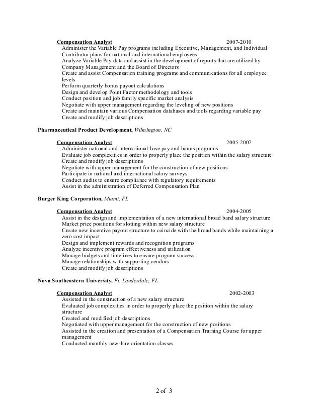 Resume compensation manager compensation analyst il