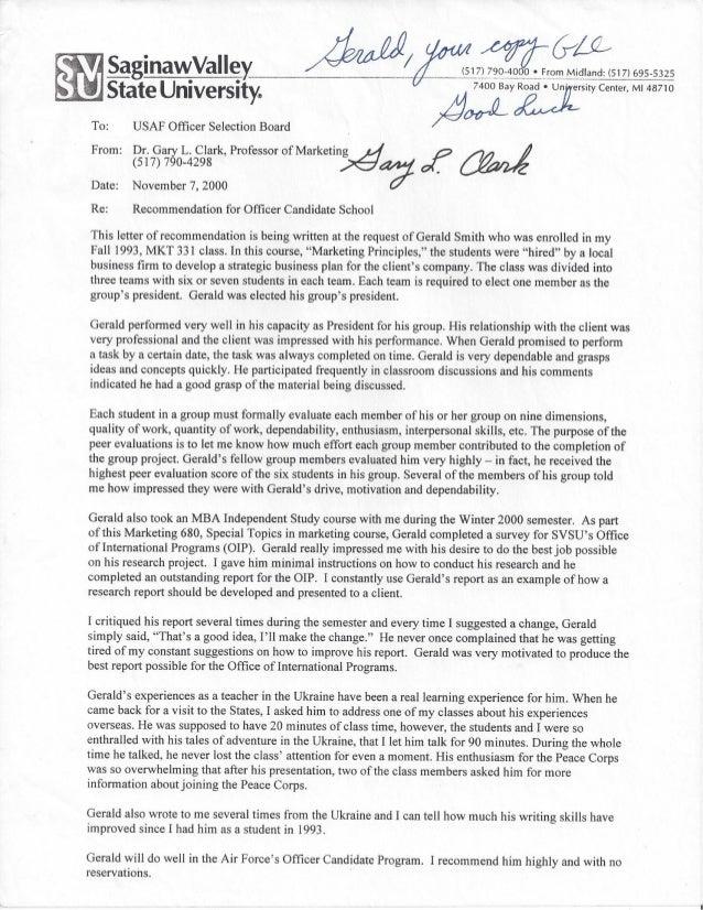 Letter Of Recommendation Svsu Professor Gary Clark