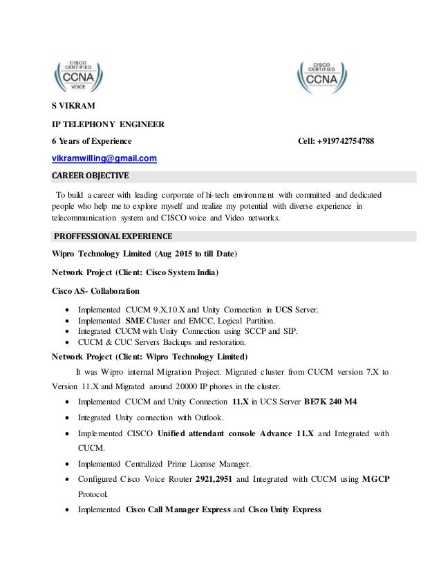 Vikram Cisco Voice New Resume Jpg 638x826 Engineer