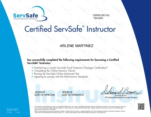 SERVSAFE INSTRUCTOR