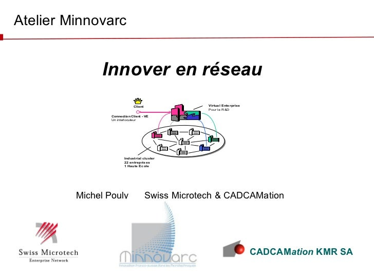 Michel Pouly  Swiss Microtech & CADCAMation Atelier Minnovarc Innover en réseau CADCAM ation  KMR SA