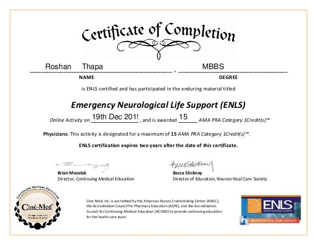 ENLS Physician Certificate- Cinemed