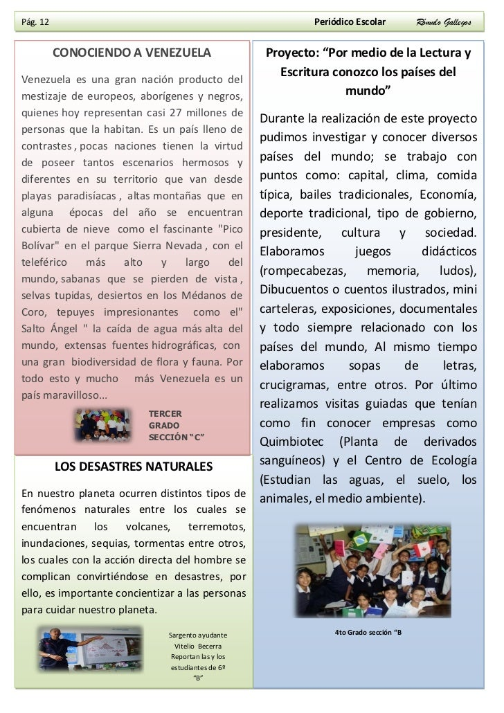 2 edici n periodico escolar r mulo gallegos for Como elaborar un periodico mural escolar