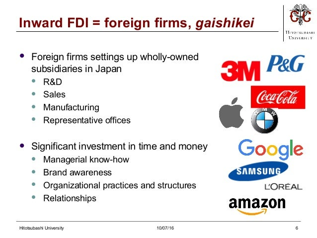 foreign owned firms in japan Thus, an examination of the monitoring provided by foreign shareholders in japan and an exploration of the relation between foreign ownership and firm value are timely research issues we find strong evidence of a non-monotonic relation between tobin's q and the fraction of equity owned by foreigners in japan.