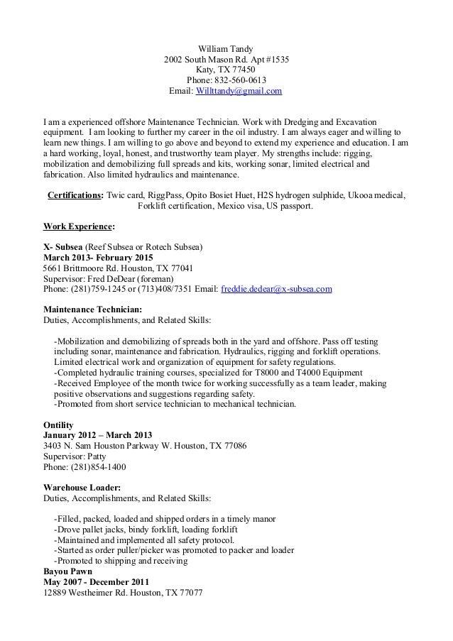 Willtandy 2015 Resume