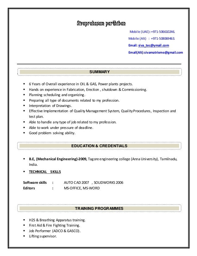 resume for mechanical engineer 1