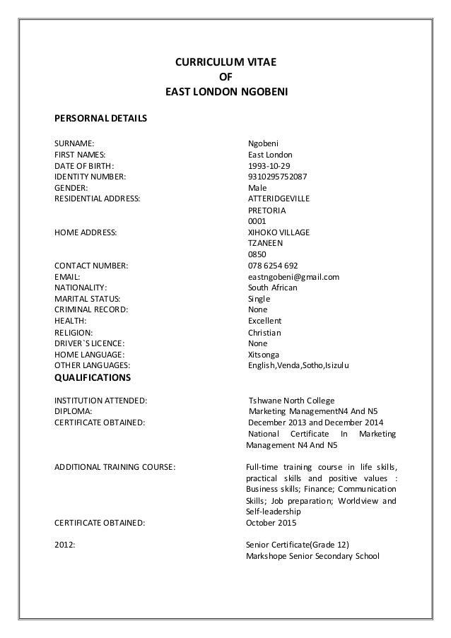 curriculum vitae in xitsonga