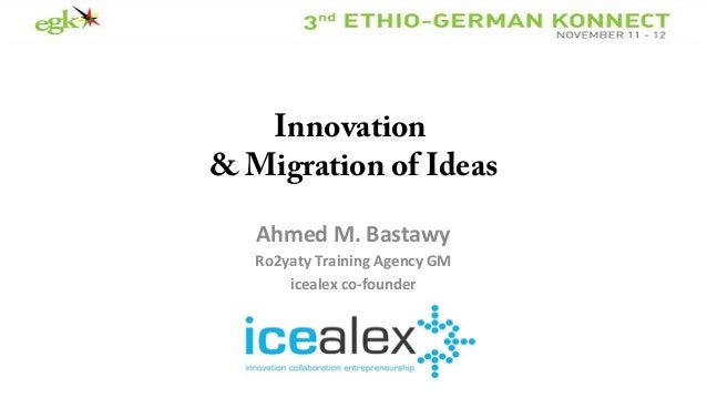 Innovation & Migration of Ideas Ahmed M. Bastawy Ro2yaty Training Agency GM icealex co-founder
