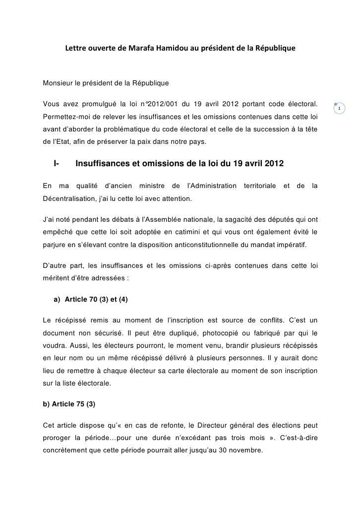 Lettre ouverte de Marafa Hamidou au président de la RépubliqueMonsieur le président de la RépubliqueVous avez promulgué la...