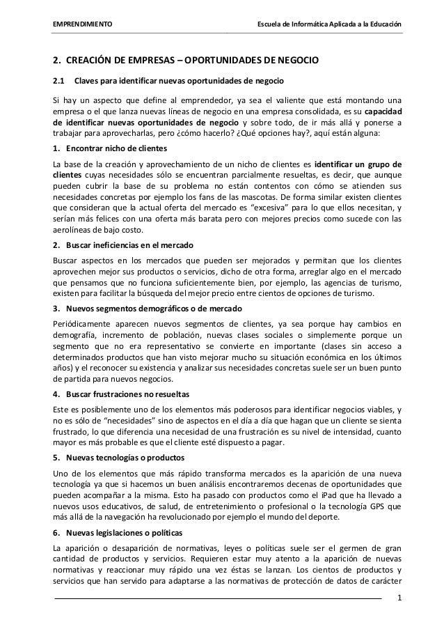 EMPRENDIMIENTO  Escuela de Informática Aplicada a la Educación  2. CREACIÓN DE EMPRESAS – OPORTUNIDADES DE NEGOCIO 2.1  Cl...