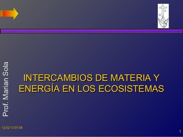 Prof. Marian Sola                     INTERCAMBIOS DE MATERIA Y                    ENERGÍA EN LOS ECOSISTEMAS  12/02/13 07...