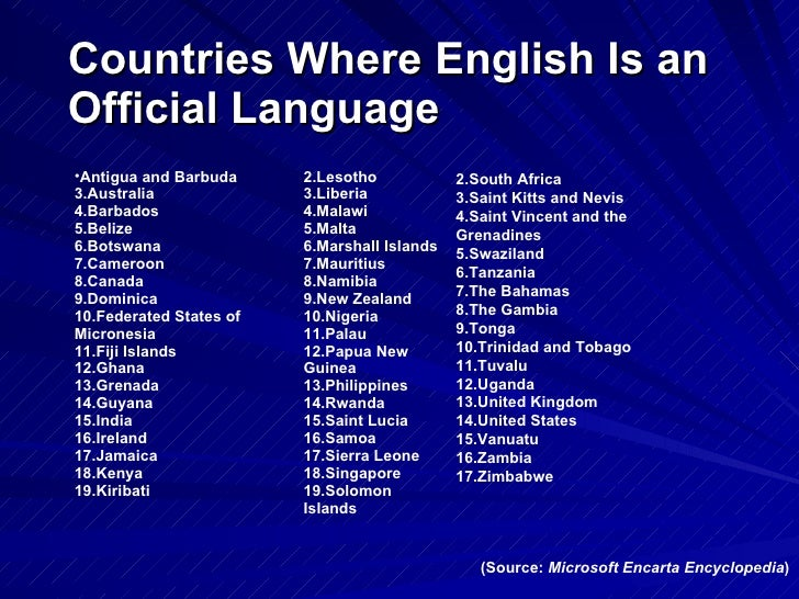 English As A Global Language Countries Where English Is An Official Language Source Microsoft Encarta  Encyclopedia