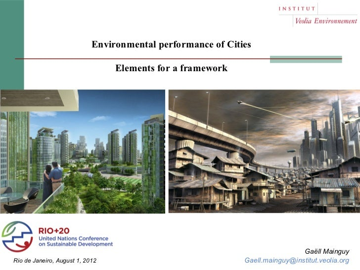 Environmental performance of Cities                                 Elements for a framework                              ...