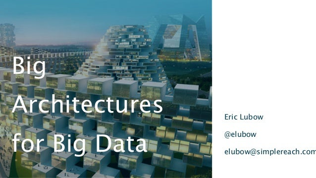 Eric Lubow@elubowelubow@simplereach.comBigArchitecturesfor Big Data