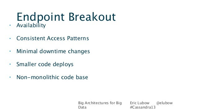 Big Architectures for BigDataEric Lubow @elubow#Cassandra13Endpoint Breakout• Availability• Consistent Access Patterns• Mi...