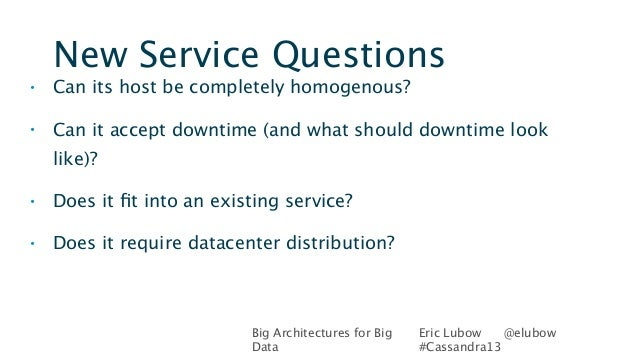 Big Architectures for BigDataEric Lubow @elubow#Cassandra13New Service Questions• Can its host be completely homogenous?• ...