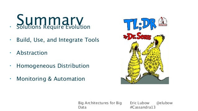 Big Architectures for BigDataEric Lubow @elubow#Cassandra13Summary• Solutions Require Evolution• Build, Use, and Integrate...