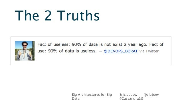 Big Architectures for BigDataEric Lubow @elubow#Cassandra13The 2 Truths
