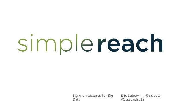 Big Architectures for BigDataEric Lubow @elubow#Cassandra13