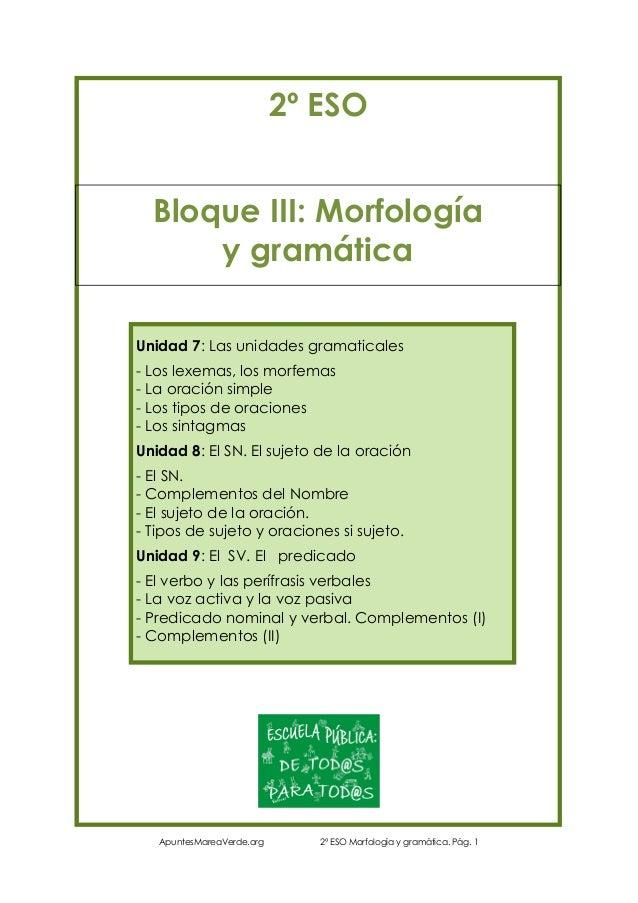 2º ESO Bloque III: Morfología y gramática Unidad 7: Las unidades gramaticales - Los lexemas, los morfemas - La oración sim...