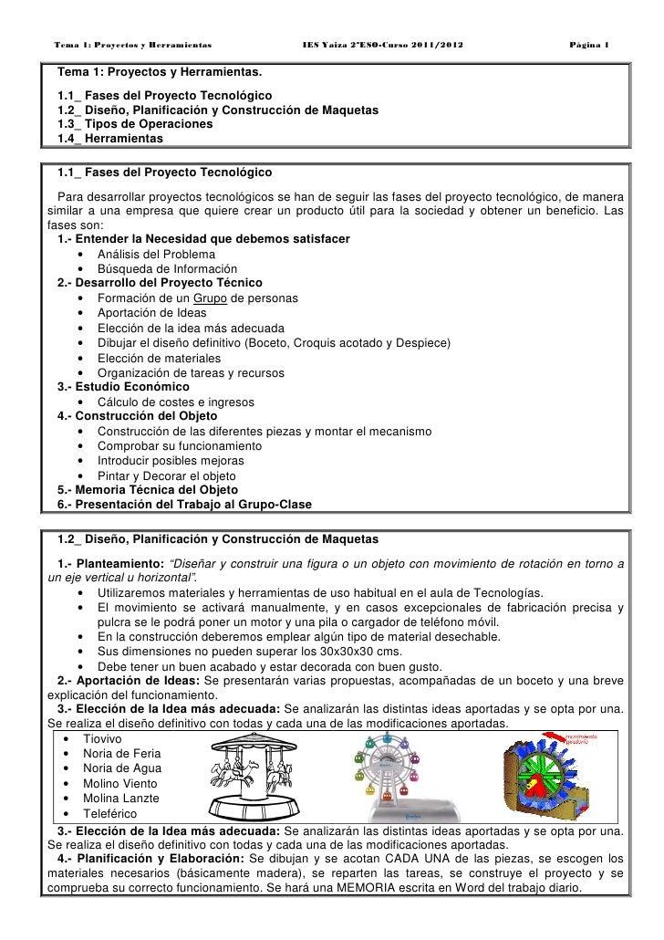 Tema 1: Proyectos y Herramientas             IES Yaiza 2ºESO-Curso 2011/2012                 Página 1 Tema 1: Proyectos y ...