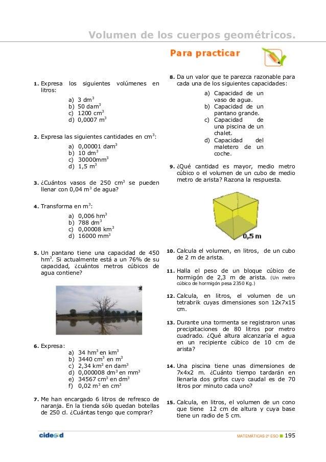 S lidos y unidades de volumen for Piscina 8x4 cuantos litros