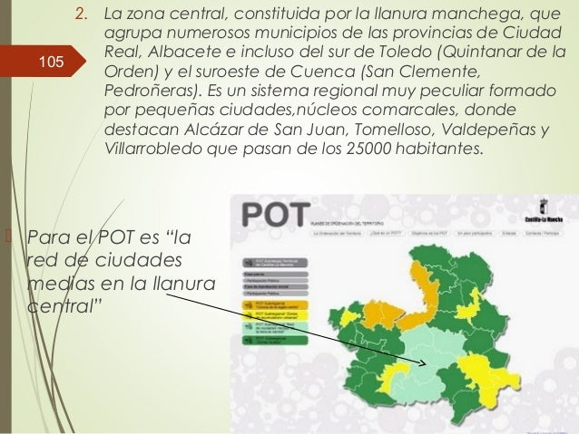 2. La zona central, constituida por la llanura manchega, que agrupa numerosos municipios de las provincias de Ciudad Real,...