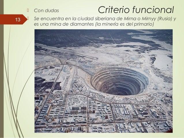 Criterio funcional Con dudas  Se encuentra en la ciudad siberiana de Mirna o Mirnyy (Rusia) y es una mina de diamantes (...