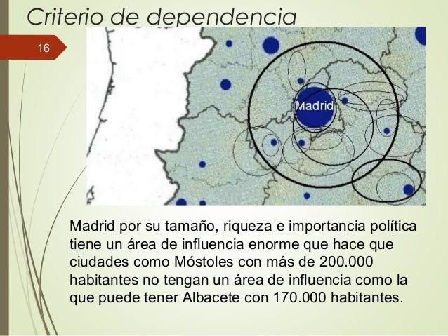 Criterio de dependencia Madrid por su tamaño, riqueza e importancia política tiene un área de influencia enorme que hace q...