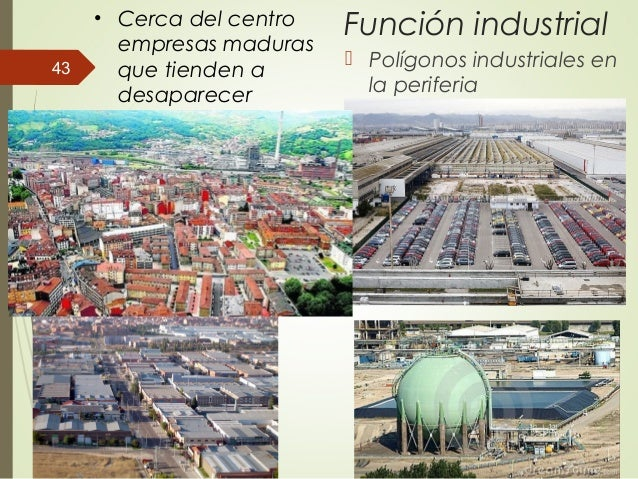 Función industrial  Polígonos industriales en la periferia • Cerca del centro empresas maduras que tienden a desaparecer ...
