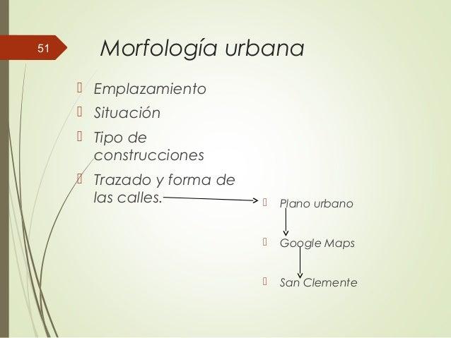 Morfología urbana  Emplazamiento  Situación  Tipo de construcciones  Trazado y forma de las calles.  Plano urbano  G...