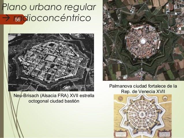 Plano urbano regular  radioconcéntrico Neu-Brisach (Alsacia FRA) XVII estrella octogonal ciudad bastión Palmanova ciudad ...