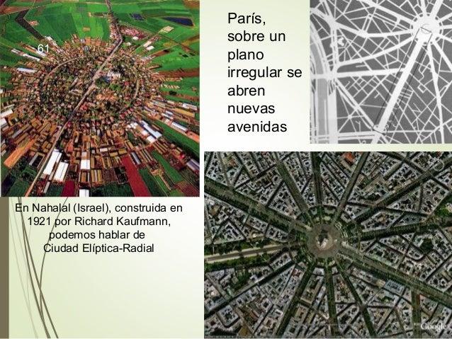 En Nahalal (Israel), construida en 1921 por Richard Kaufmann, podemos hablar de Ciudad Elíptica-Radial París, sobre un pla...