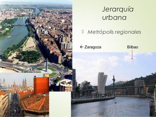 Jerarquía urbana  Metrópolis regionales  Zaragoza Bilbao 80