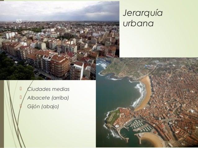 Jerarquía urbana  Ciudades medias  Albacete (arriba)  Gijón (abajo) 83