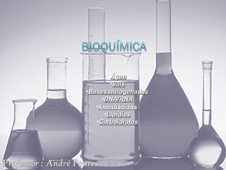 <ul><li>Água </li></ul><ul><li>Sais </li></ul><ul><li>Bases nitrogenadas </li></ul><ul><li>DNA/RNA </li></ul><ul><li>Amino...