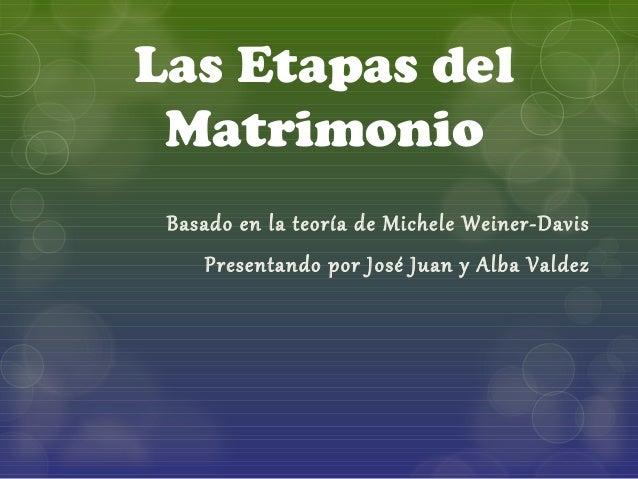Las Etapas del  Matrimonio  Basado en la teoría de Michele Weiner-Davis  Presentando por José Juan y Alba Valdez