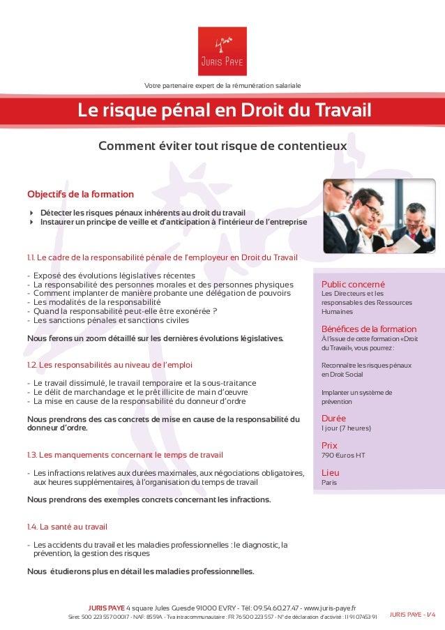 Votre partenaire expert de la rémunération salariale  Le risque pénal en Droit du Travail  Comment éviter tout risque de c...