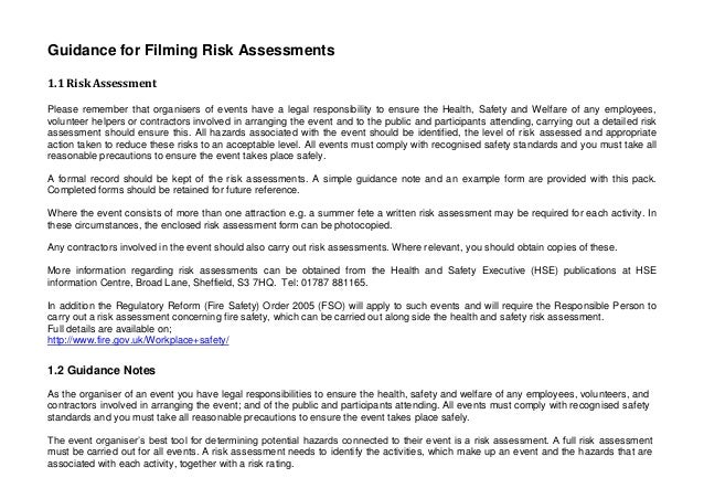 Filming Risk Assessment Form