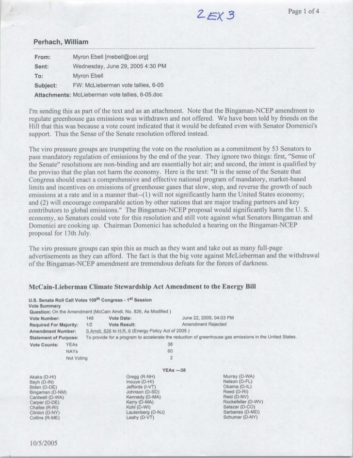 Page Ilof 4      Perhach, William   From:        Myron Ebell [mebel1~cei .org]   Sent:        Wednesday, June 29, 2005 4:3...