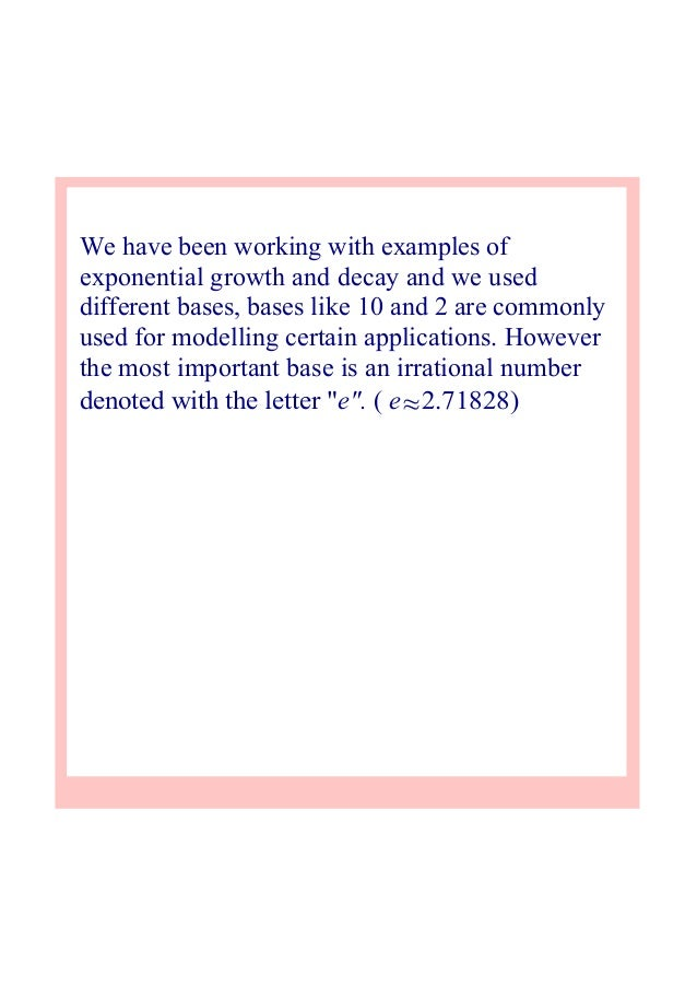 2) exponential growth and decay